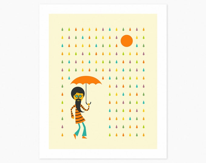 PSYCHEDELIC RAIN (Fine Art Print) Colorful Minimal Art by Jazzberry Blue