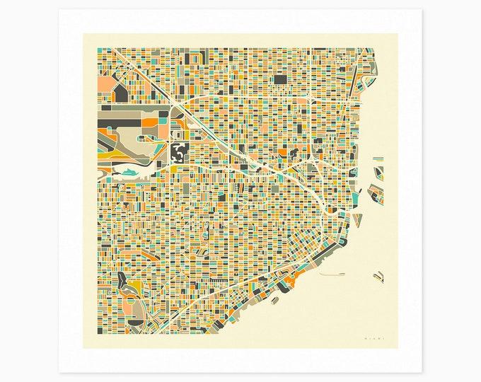 MIAMI Street Map (Fine Art Print) by Jazzberry Blue