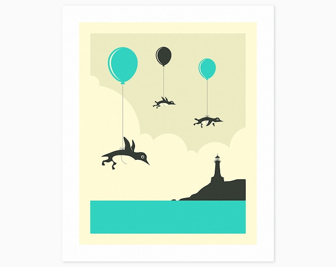 FLOCK OF PENGUINS (Fine Art Print) Kids Room Wall Art