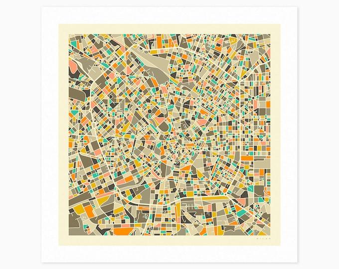 MILAN Street Map (Fine Art Print) by Jazzberry Blue