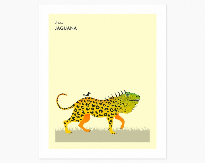 J is for JAGUANA (Fine Art Print) Surreal, Animal Pop Art for Kids