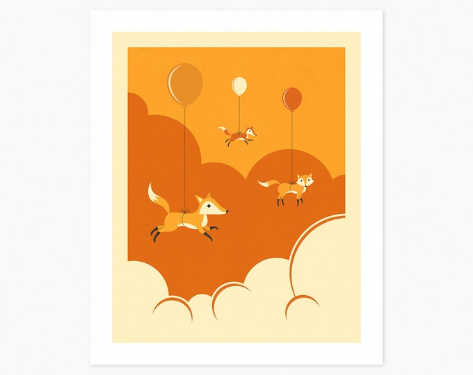 FLOCK OF FOXES (Fine Art Print) Animal Pop Art