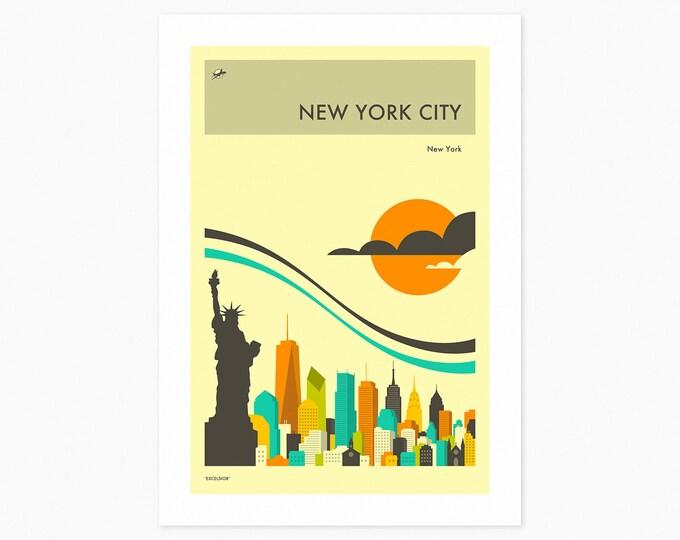 NEW YORK CITY Travel Poster (Fine Art Print) City Skyline