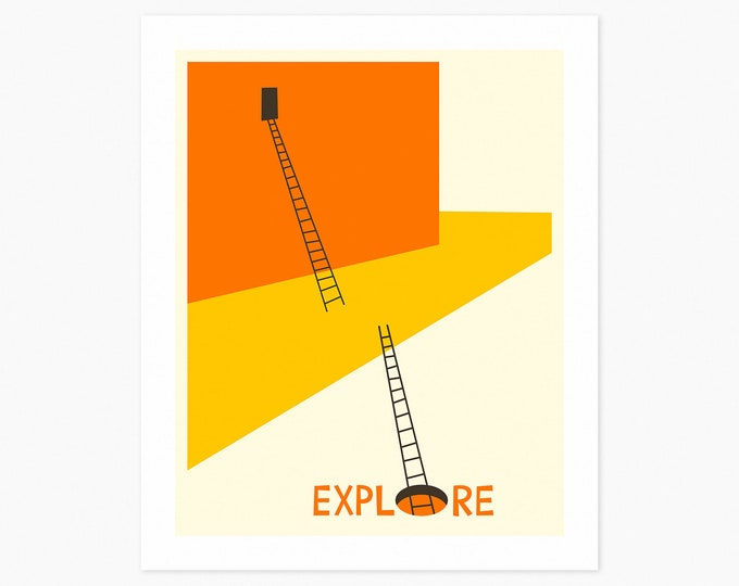 EXPLORE (Fine Art Print) Minimal Typography by Jazzberry Blue