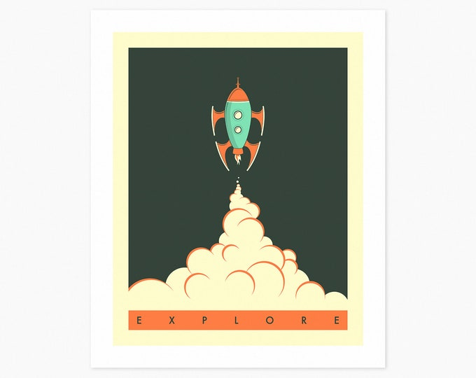 EXPLORE (Fine Art Print) Minimal, Space Travel Pop Art by Jazzberry Blue