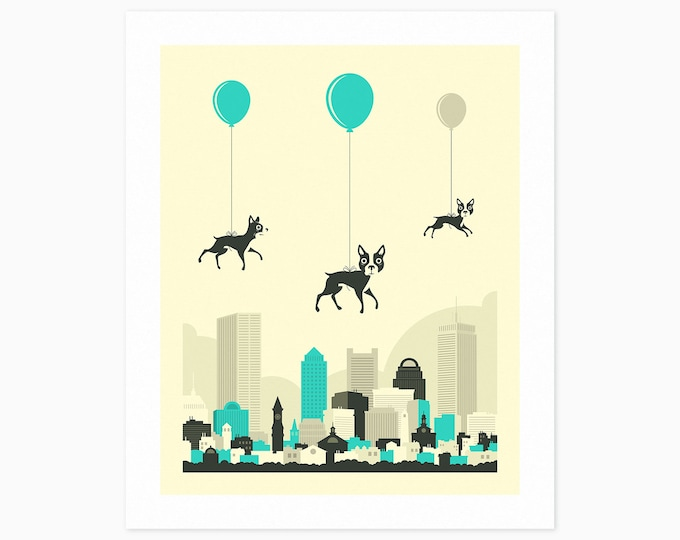 FLOCK of BOSTON TERRIERS (Fine Art Print) Kids Room Wall Art