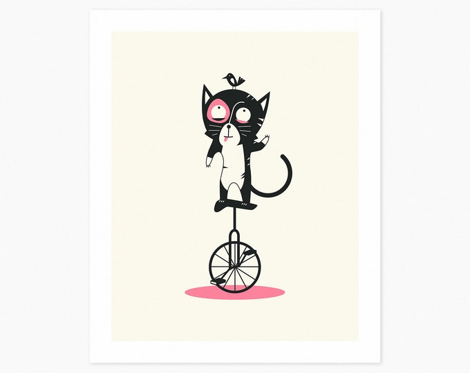 UNICYCLE CAT  (Fine Art Print) Minimal Pop Art for Kids