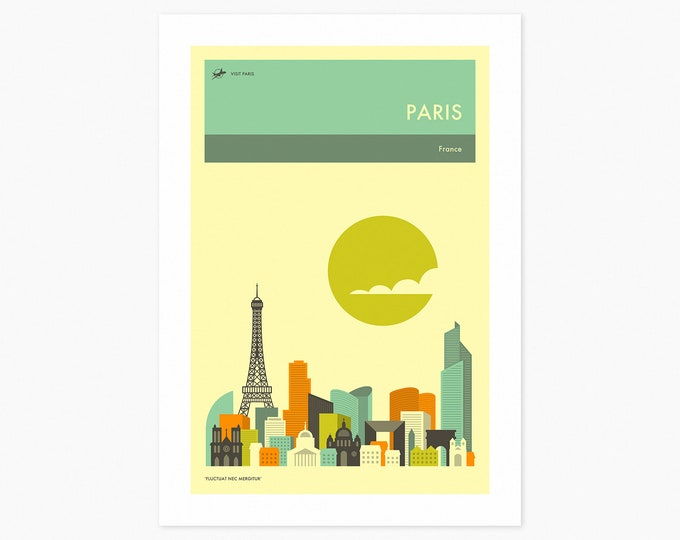 PARIS TRAVEL POSTER (Fine Art Print) City Skyline