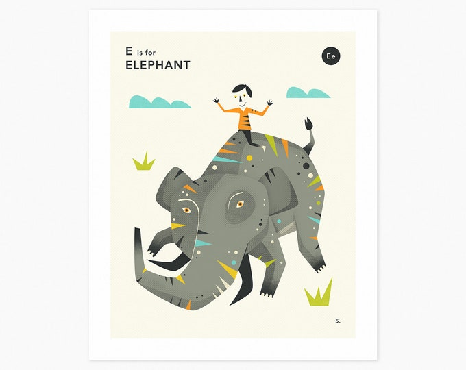 E is for ELEPHANT  (Fine Art Print) Animal Alphabet Art by Jazzberry Blue