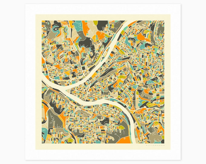 PITTSBURGH Street Map (Fine Art Print) by Jazzberry Blue