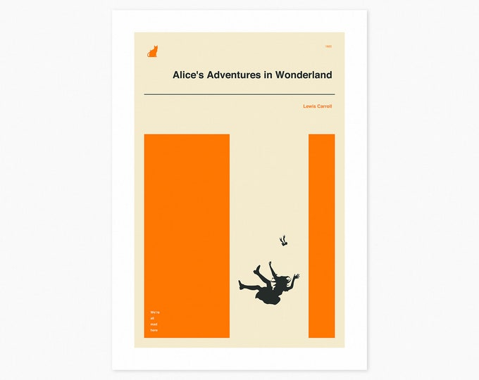 ALICE IN WONDERLAND (Fine Art Print) Minimal, Book Cover Pop Art