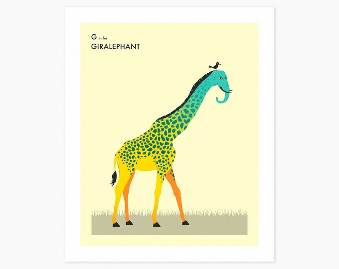 G is for GIRALEPHANT (Fine Art Print) Surreal, Animal Pop Art for Kids