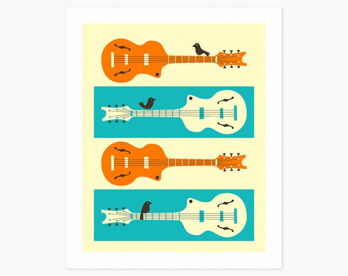 BIRDS 0N GUITAR STRINGS (Fine Art Print) Mid Century Minimal Pop Art