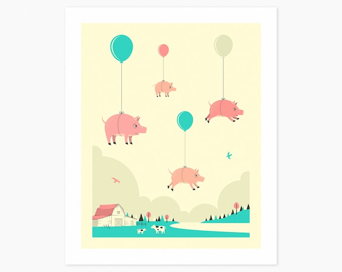 FLOCK OF PIGS (Fine Art Print) Animal Pop Art for Kids