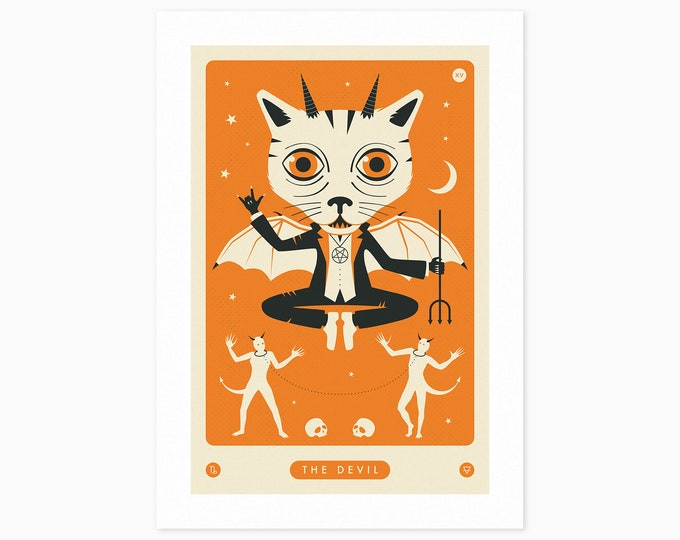 TAROT CARD CAT: The Devil (Fine Art Print) by Jazzberry Blue
