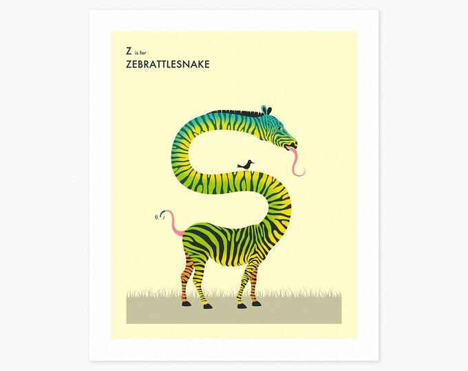 Z is for ZEBRATTLESNAKE (Fine Art Print) Surreal, Animal Pop Art for Kids