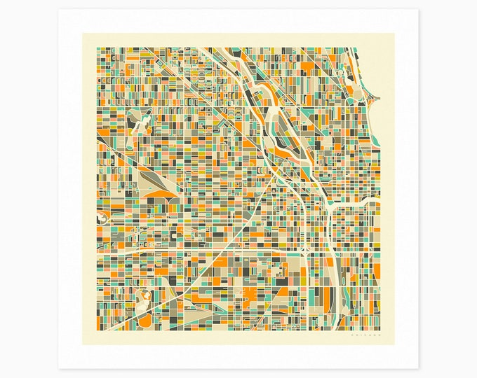 CHICAGO Street Map (Fine Art Print) by Jazzberry Blue