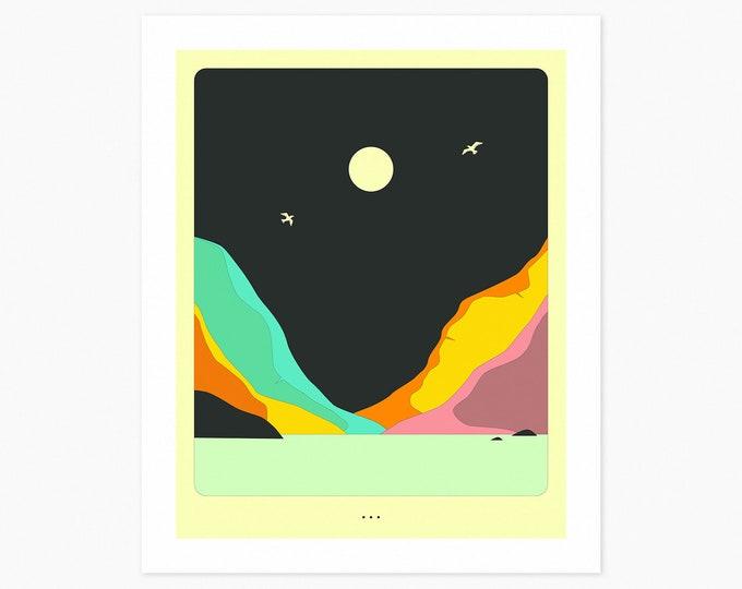 MINIMAL LANDSCAPE 28 (Fine Art Print) Moonrise by Jazzberry Blue