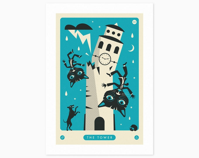 TAROT CARD CAT: The Tower (Fine Art Print) by Jazzberry Blue