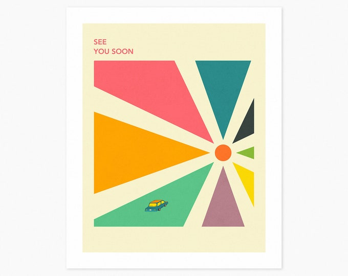 SEE YOU SOON (Fine Art Print) Colorful, Minimal Travel Poster by Jazzberry Blue