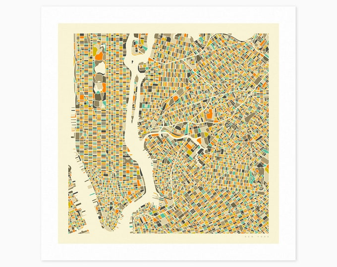 NEW YORK STREET Map (Fine Art Print) by Jazzberry Blue