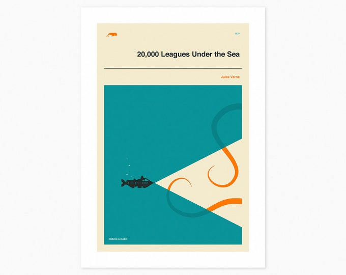 20,000 LEAGUES UNDER The SEA (Fine Art Print) Minimal, Book Cover Pop Art