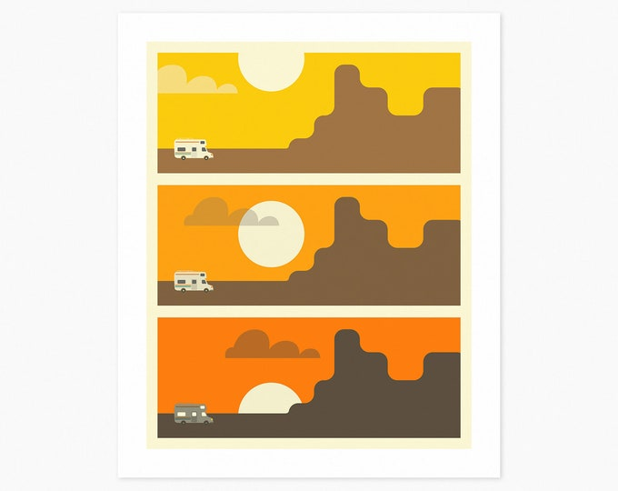 RV SUNSET (Fine Art Print) Travel Poster Pop Art by Jazzberry Blue