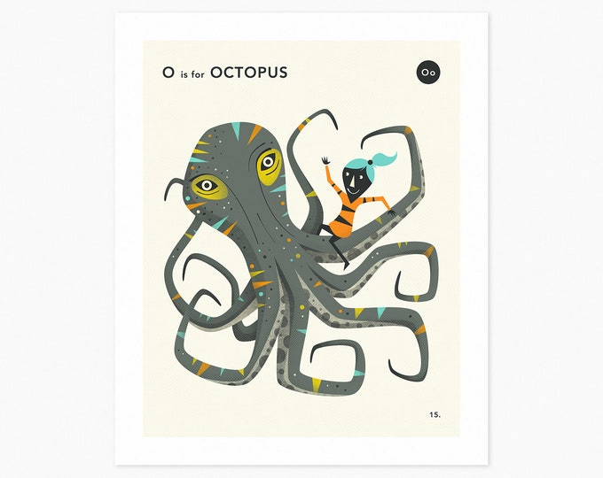 O is for OCTOPUS (Fine Art Print) Animal Alphabet Art by Jazzberry Blue