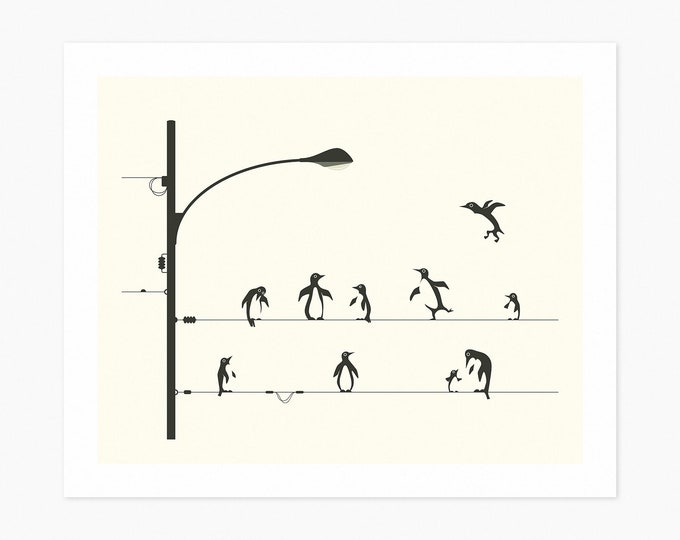PENGUINS ON A WIRE (Fine Art Print) Minimal Wall Art by Jazzberry Blue