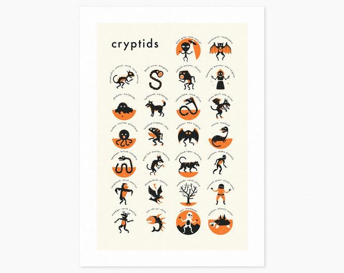 CRYPTIDS A-Z (Fine Art Print) Cryptozoology Pop Art by Jazzberry Blue