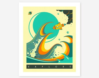 EXPLORE (Giclée Fine Art Print/Photo Print/Poster Print) by Jazzberry Blue