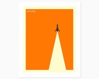 EXPLORE (Giclée Fine Art Print or Photo Paper Print) Minimal Space Travel Poster (Unframed)