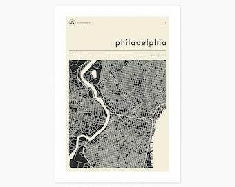 PHILADELPHIA MAP (Giclée Fine Art Print or Photo Paper Print) Minimal City Street Map (Unframed)