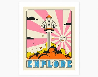 EXPLORE (Giclée Fine Art Print or Photo Paper Print) Space Travel Pop Art by Jazzberry Blue (Unframed)