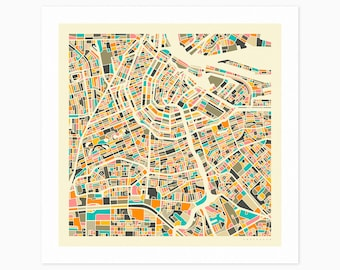 AMSTERDAM MAP (Giclée Fine Art Print or Photo Paper Print) City Street Map by Jazzberry Blue (Unframed)