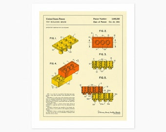 BUILDING BRICKS Patent 1961 Reproduction (Giclée Fine Art Print or Photo Paper Print) (Unframed)