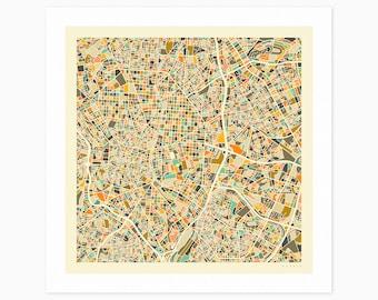 MADRID MAP (Giclée Fine Art Print or Photo Paper Print) City Street Map by Jazzberry Blue (Unframed)