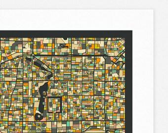 BEIJING MAP (Giclée Fine Art Print/Photo Print/Poster Print) dark version