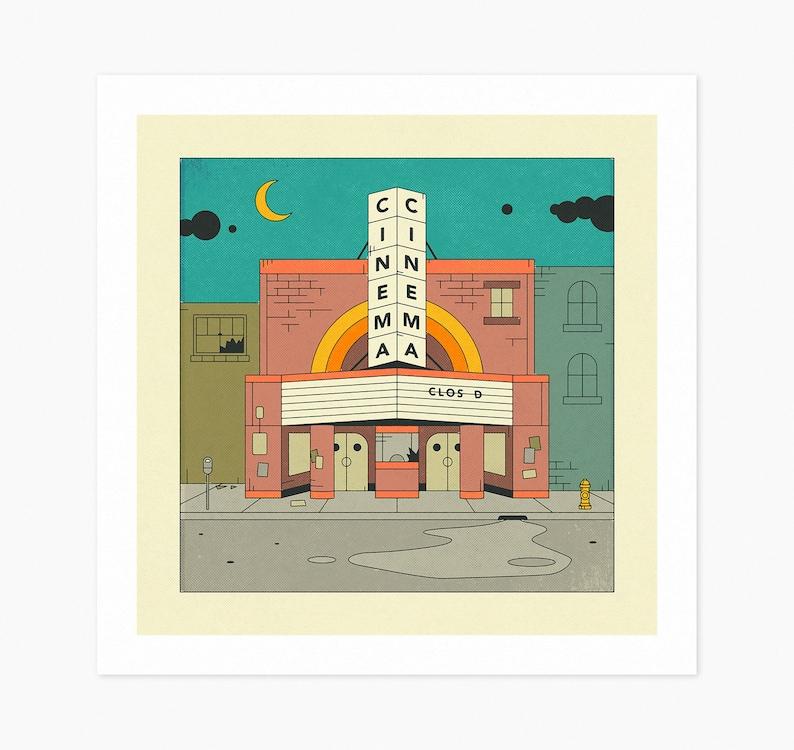 CINEMA Fine Art Print Retro Movie Theatre Illustration by image 0