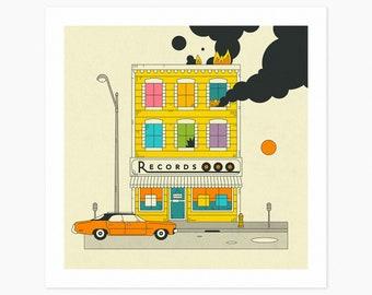 RECORD SHOP (Giclée Fine Art Print or Photo Paper Print) Retro, Pop Art by Jazzberry Blue (Unframed)