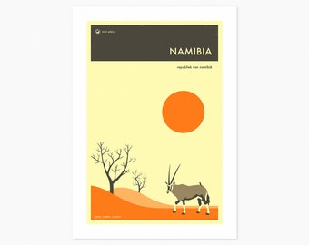 NAMIBIA TRAVEL POSTER (Giclée Fine Art Print or Photo Paper Print) by Jazzberry Blue (Unframed)
