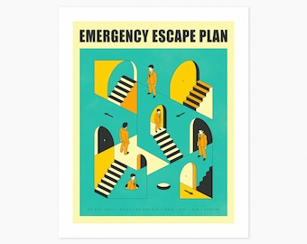 EMERGENCY ESCAPE PLAN 1 (Giclée Fine Art Print or Photo Paper Print) Surreal, Abstract Infographic (Unframed)