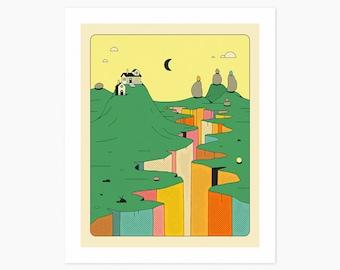 DENIZENS 2 (Giclée Fine Art Print or Photo Paper Print) Colorful Landscape illustration by Jazzberry Blue (Unframed)