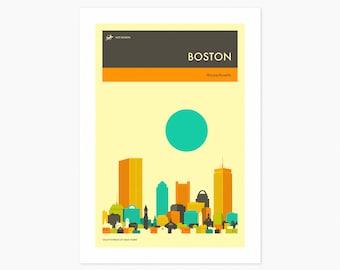 BOSTON TRAVEL POSTER (Giclée Fine Art Print or Photo Paper Print) City Skyline (Unframed)