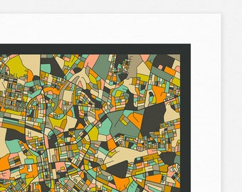 LUSAKA MAP (Giclée Fine Art Print/Photo Print/Poster Print) dark version