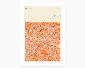 BERLIN MAP (Giclée Fine Art Print or Photo Paper Print) Minimal City Street Map (Unframed)