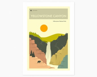 YELLOWSTONE National Park (Giclée Fine Art Print or Photo Paper Print) Yellowstone Canyon Travel Poster (Unframed)