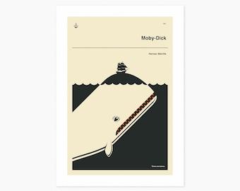 MOBY-DICK (Giclée Fine Art Print or Photo Paper Print) Minimal, Book Cover Pop Art (Unframed)