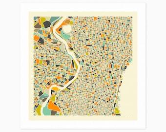 PHILADELPHIA MAP (Giclée Fine Art Print or Photo Paper Print) City Street Map by Jazzberry Blue (Unframed)