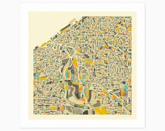 CLEVELAND MAP (Giclée Fine Art Print or Photo Paper Print) City Street Map by Jazzberry Blue (Unframed)